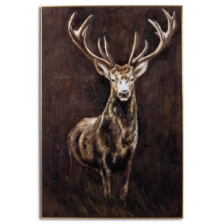 Royal Stag Glass Image In Gold Frame