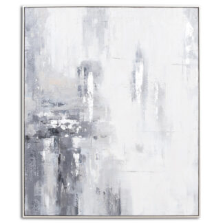 Metallic Grey And Silver Glass Image In Silver Frame