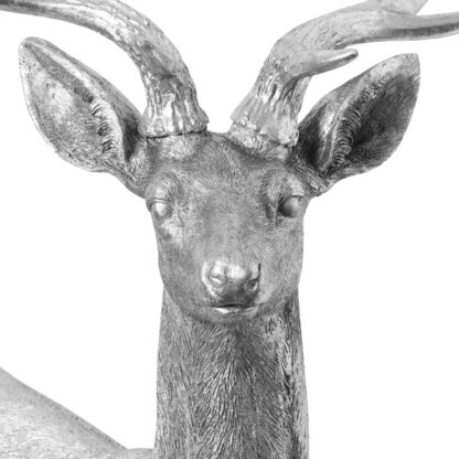 Large Standing Curious Silver Stag